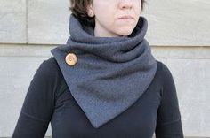 Cool weather cowl -22 x 60 folded in half lengthwise -button on top left with snap behind - other half of snap on top right