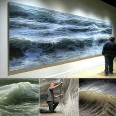 Ran Ortner is a Brooklyn-based surfer, passionate about the sea and artist painter. Using oil paint he creates impressive photo-realistic paintings of waves. In 2009 Ran Ortner won the. Acrylic Portrait Painting, Hyper Realistic Paintings, Seascape Paintings, Oil Paintings, Environmental Art, Sculpture, Ocean Waves, Medusa, Street Art