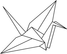 Outline Paper Crane Tattoo Design