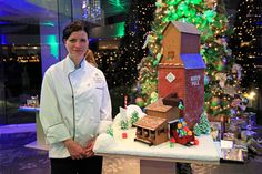 Pastry Chef April Iverson in front of her Gingerbread Creation. Christmas on the Prairies.