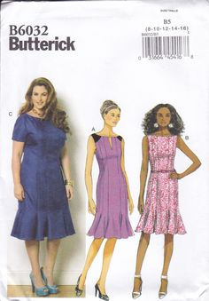 FREE US SHIP Butterick 6032 Gored Dress Godets Sleeve Variations Size 8 10 12 14 16 Bust 31 32 34 36 38 Factory Folded Out of Print 2014 by LanetzLiving on Etsy