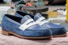 Handmade Men Blue Suede and Blue leather shoes,Men slip ons Men Spectator shoes - Dress/Formal Boys Shoes, Men's Shoes, Shoe Boots, Dress Shoes, Shoes Men, Jm Weston, White Leather Shoes, Leather Men, Penny Loafers