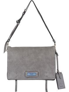 2a75904a3cbf Grey Lambskin Etiquette Messenger by Prada - Fizzm Over The Shoulder Bags