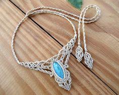 Collar de macrame larimar curación joyas piedra de por SelinofosArt
