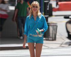 #Outfits with #shorts: Karolina Kurkova, en Nueva York