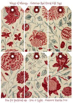 Wings of Whimsy: Red Victorian párr Regalo Floral ETIQUETAS - Libres párr USO cosecha personal # # # victoriano ETIQUETAS