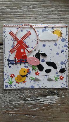 Kaart met molen Marianne Design en Eline's boerderijdiertjes koe en eendje, gemaakt door Diana.