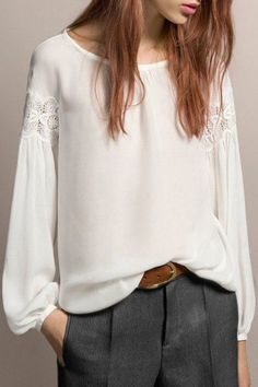 Incredibly Feminine / White Chiffon w/ Lace + Chic Grey Trousers - long blouses online, down the blouse, blue floral blouse *sponsored https://www.pinterest.com/blouses_blouse/ https://www.pinterest.com/explore/blouse/ https://www.pinterest.com/blouses_blouse/red-blouse/ http://www.hm.com/us/products/ladies/shirts_blouses