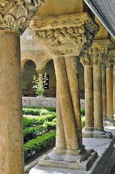 Colonnade at the Monastery of Santo Domingo de Silos, Burgos, Spain. Yes, these are the monks who do the Chant CD. I heard them say Mass.