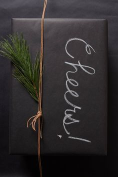 "Easy ""Chalkboard"" wrapping - black paper + chalk!"