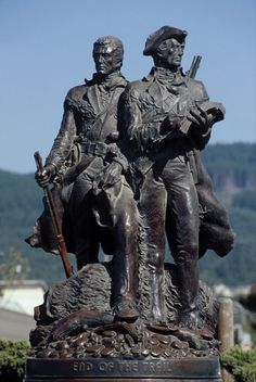 End of the Trail. Seaside, OR. The Lewis and Clark statue. Depiction of the two discovering the Pacific Ocean.