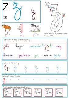 Imprimer la page sur la lettre z en minuscule - Livre GS / CP sur les minuscules