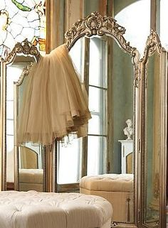 I LOVE this mirror and ottoman. The feel is elegant. Reminiscent of old-world France, the Elle Trifold Mirror adds elegance and sophistication to your dressing room. Dressing Screen, Dressing Mirror, Trumeau, Beautiful Mirrors, French Decor, My New Room, Elegant, Boudoir, Shabby Chic