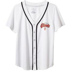 Old Navy Womens MLB Team Button Front Jerseys ($20) ❤ liked on Polyvore featuring tops, old navy tops, loose tops, round top, loose fit tops ve loose fitting tops
