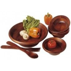 "Serving Platters/Bowls/Trays: Cherry Finished 7 piece Salad Set & 12"" servers"
