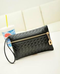 Woman wallet man purse woven style black wallet hand by appsail, $9.99