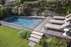 Backyard Pool Designs, Small Backyard Pools, Small Pools, Ponds Backyard, Pool Landscaping, Backyard Patio, Raised Pools, Piscina Intex, Kleiner Pool Design