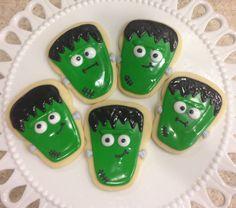 •Cute Halloween Frankenstein Cookies•