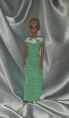 A Spring Meadow Green Gown For Your Barbie Doll, Crochet Barbie Dress, Fashion Doll Crocheted Clothing, Handmade Barbie Clothes by GrandmasGalleria on Etsy