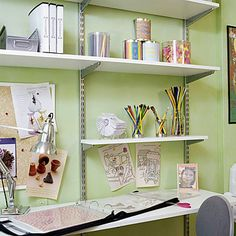 A 5-foot-long desktop provides plenty of surface area to spread out multiple projects. An adjustable chair lets both children and adults use this work surface comfortably. Editor's Tip: There's no need to purchase pencil holders. Raid your kitchen cupboards for containers for pencils, markers, and paintbrushes.
