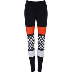 P.E Nation Checked Sprint Legging ($98) ❤ liked on Polyvore featuring pants, leggings, black, mid rise pants, legging pants, checked leggings, mesh-panel leggings and striped leggings