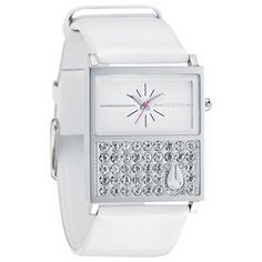 Nixon A576710 Women's Chalet Swarovski Crystals Accents White Dial Leather Band Watch