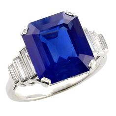 9 Carat Natural No Heat Cornflower Kashmir Sapphire Diamond Platinum Ring | From a unique collection of vintage engagement rings at https://www.1stdibs.com/jewelry/rings/engagement-rings/