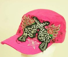 Cap with rhinestone guns and roses pink, $24.99 (http://www.cowgirlblingranch.com/products/cap-with-rhinestone-guns-and-roses-pink.html)