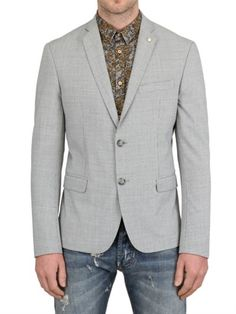 ARSENAL - CHECKED STRETCH VISCOSE SLIM FIT JACKET   $278.85