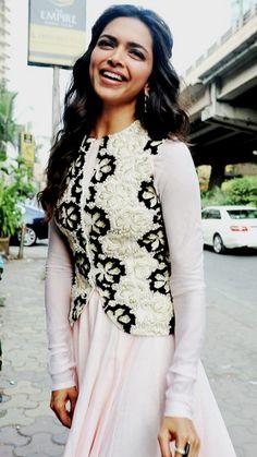 Deepika Padukone Plain Anarkali with Embroidered Jacket,off white anarkali suit,floor length anarkali suit,daily wear anarkali suit Pakistani Dresses, Indian Dresses, Indian Outfits, Punjabi Dress, Bollywood Celebrities, Bollywood Fashion, Bollywood Stars, Bollywood Actress, Hijab Fashion