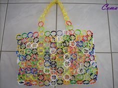 Plastic cap rings made into a tote bag using upcycled recycled zip ties