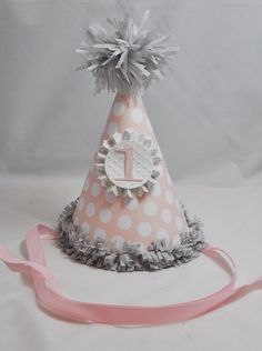 1st Birthday Party Hat Girl- Pink and Grey- Polka Dots- Shabby Chic