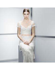 Klassische rückenfrei kurze Ärmel Brautkleider aus Spitze Vestidos de novia - Jesús Peiró