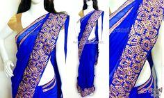 Royal blue chiffon saree CODE: SD087 PRICE: Rs.4800 SAREE: Royal blue chiffon saree with intricate kundan stone and zari work border. BLOUSE: Cotton shimmer material