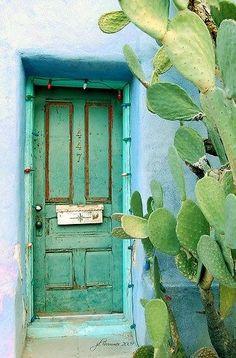 rustic green door, blue adobe exterior wall and cactus Old Doors, Windows And Doors, When One Door Closes, Cactus Y Suculentas, Door Knockers, Doorway, Belle Photo, Color Inspiration, Interior And Exterior