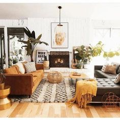 Home Interior Design .Home Interior Design Boho Living Room, Home And Living, Earthy Living Room, Living Room With Plants, Cute Living Room, Small Living, Retro Living Rooms, Living Spaces, Cozy Living Rooms