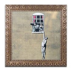 Trademark Fine Art Scandal Canvas Art by Banksy, Gold Ornate Frame, Size: 11 x 11, Multicolor