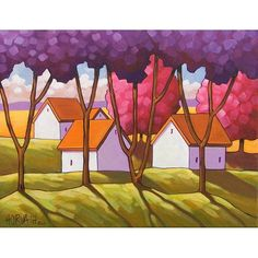 PAINTING ORIGINAL Folk Art Cottage Purple Pink Trees Green Grass Landscape Colorful Spring Abstract Fine Artwork Shadows C. Horvath