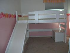 Twin mid-height loft bed with slide - solid wood - painted white