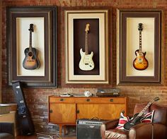 Idea for Dave's guitars. Don't love hanging them this way, but love the look too much. - Michaels