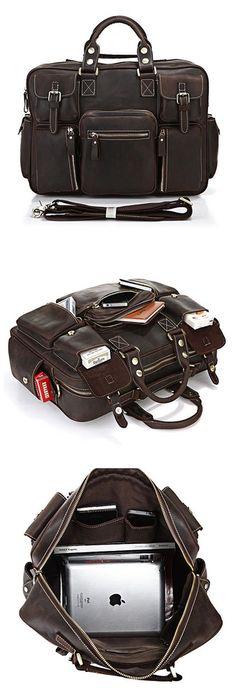 Image of Vintage Handmade Genuine Crazy Horse Leather Business Travel Bag /Duffle bag/#luggage #Bag(J-2)