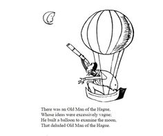 From the 1894 A Book of Nonsense by Edward Lear. cartoon man in hot air balloon observing moon with telescope Public Domain Clip Art, Edward Lear, Nonsense Words, Etching Prints, Cartoon Man, English Artists, Hot Air Balloon, Art Images, Eye Candy