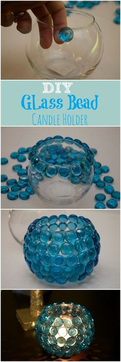 Dollar Store Crafts -Make Your Own Candle Holder - DIY Glass Bead Candle Holder. Super Easy to Make. Dollar Store Crafts are the best! These would make great centerpieces for a wedding.