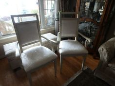 These lovely chairs with arms were just taken from a storage unit purchased a few weeks ago.  They are like new.  Just listed on Kijiji.  SOLD