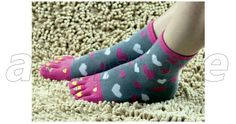 Love Heart Cartoon Printing Texture Five-Toe Socks for Women, Pure Cotton Material