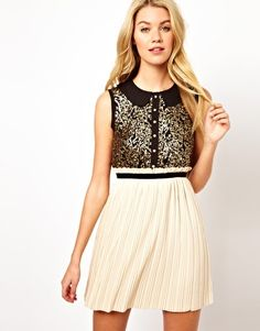Darling Sequin Top Dress with Pleated Skirt