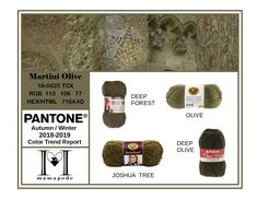 Martini Olive - Pantone Color Trend Report Autumn Winter 2018 2019 Fashion trend analysis and yarn matching by mamapode Tight Crochet Fyre Festival, Pink Peacock, Fashion 2017, Fashion Trends, Fall Winter, Autumn, Dresses Australia, Young Designers