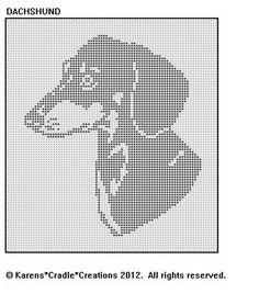 DACHSHUND Filet Crochet Pattern