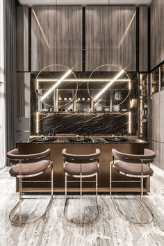 Interior Exterior, Luxury Interior, Home Interior Design, Modern Home Bar Designs, Contemporary Kitchen Design, Kitchen Room Design, Dining Room Design, Cuisines Design, Küchen Design