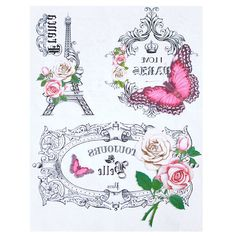 Papel Transfer - I Love Paris Shabby Vintage, Decoupage Vintage, Shabby Chic Pink, Vintage Roses, Vintage Paper, Foto Transfer, Transfer Paper, Pattern Paper, Pattern Art